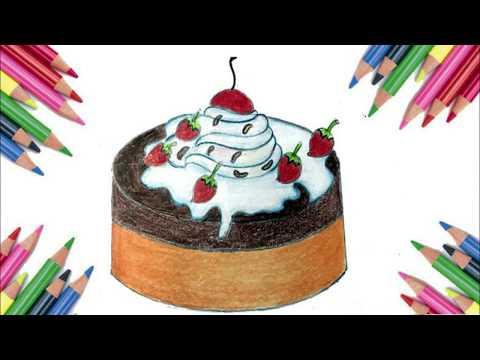 How to draw a cake easy | 4k