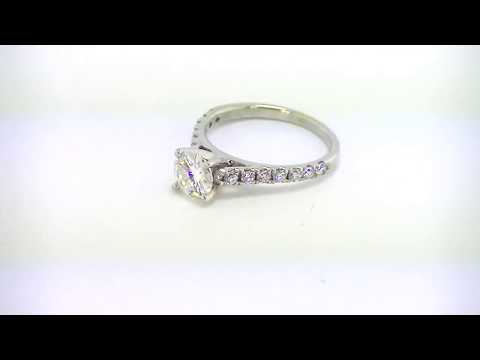 6mm round forever one def charles and colvard moissanite 18k white gold classic pave ring 1.5 cttw
