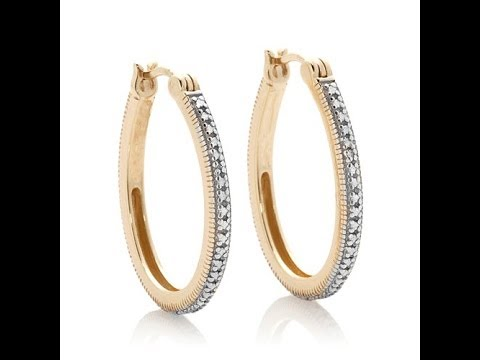 Goldtoneplated hoop earrings with diamond accent