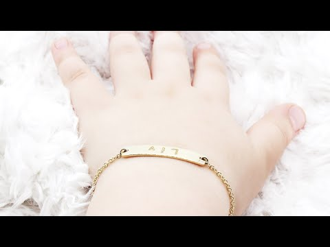 Personalized name baby id bracelet 14k solid gold