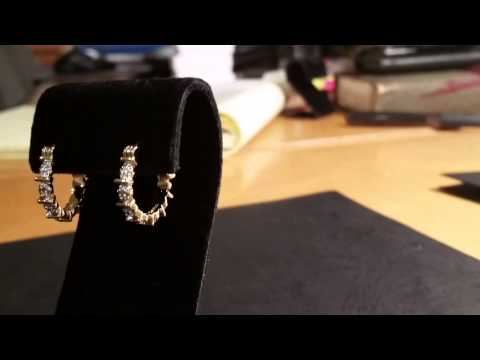 18k gold earrings with diamond accent clip in