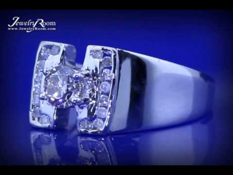 Live jewelry auctions - 1 carat diamond heavy 14kt solid white gold ring - men's engagement wedding