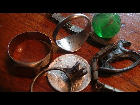 Antique gold rings found metal detecting an old swimming site