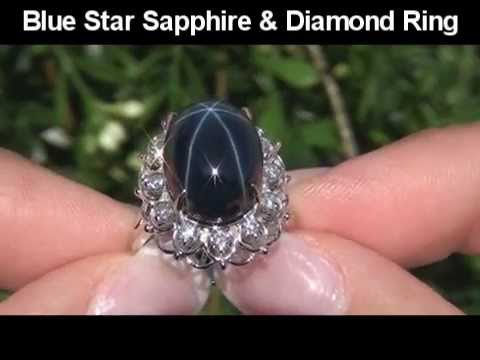 Extra large blue star sapphire & vs diamond ring set in solid 14k white gold