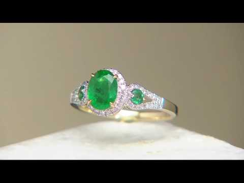 Colombian emerald & pave' diamond 3-stone design ring, 14k, 1.20 cttw on qvc