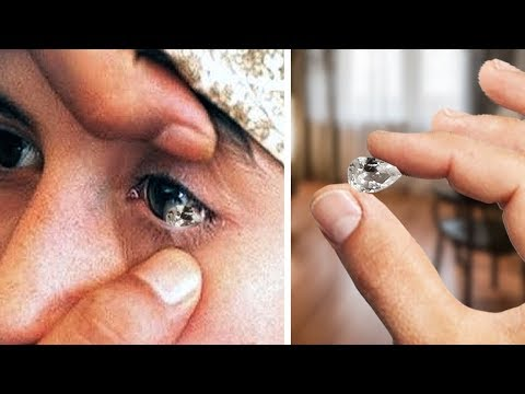 Is she crying with pure diamonds?
