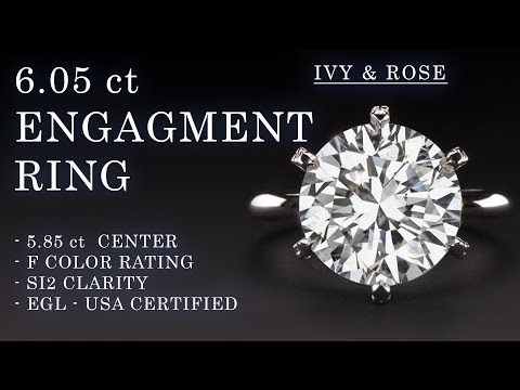 6.05 ct certified f si2 natural diamond engagement ring round cut 6ct eye clean