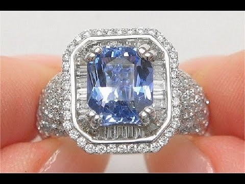 Gia certified unheated natural blue sapphire diamond 14k white gold estate ring - c151481
