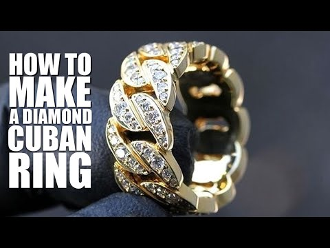 How to make a miami cuban gold diamond ring (how to make jewelry)