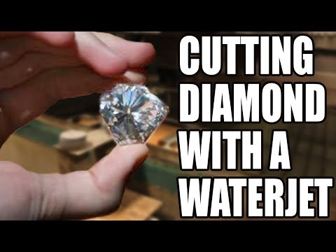 Cutting a huge 17 carat diamond with 60,000 psi waterjet - with cody's lab