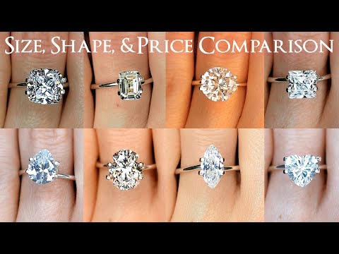 Engagement ring diamond size comparisons for all shapes: oval, round, princess, cushion & more