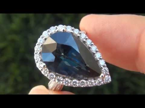 Gia certified unheated natural vvs blue sapphire diamond 18k white gold engagement ring - c514