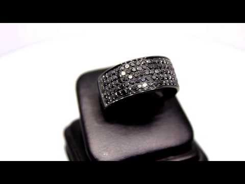 Mens 10k solid gold pvd plated diamond ring with black diamonds 2.68 ctw