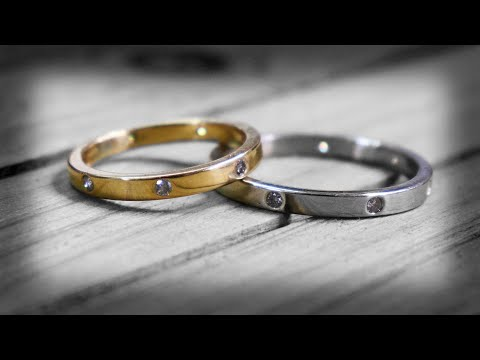 Handmade gold and diamond wedding bands from scratch