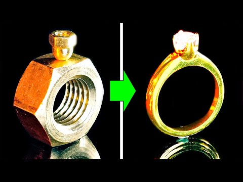 How to make a golden diamond ring from a nut for free    28 diy jewelry ideas